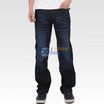 墨达人 男款 达五式中腰直筒牛仔裤 深蓝 M