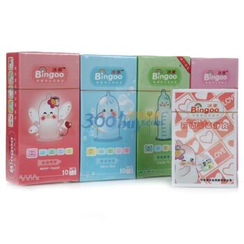 冰果BinGoo水润呵护10片+亲密超薄10片+可爱浮点12片+冰果BinGoo紧绷安全套10片赠爱情漫画扑克