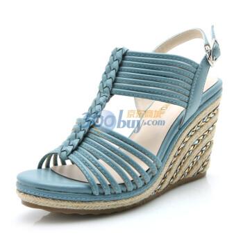 exull依思q 草编风情 2012夏季新款舒适坡跟高跟女鞋