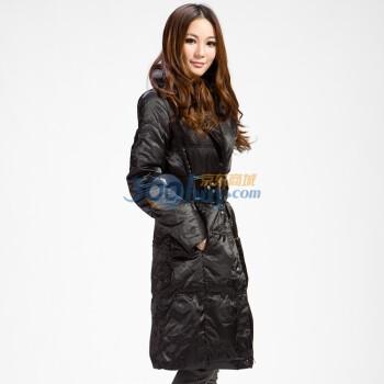 德玛纳 女士 长款 收身加厚 羽绒服(80%白鸭绒/充绒量160g)