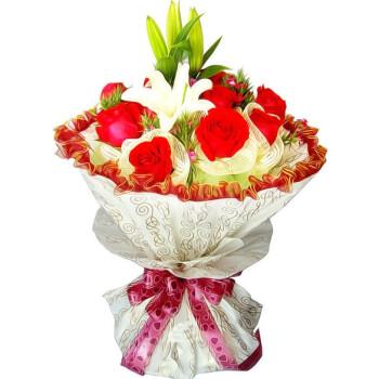 雅鲜花 红玫瑰花束 白百合花束 11朵红玫瑰圆形包装 鲜花速递 颜色1