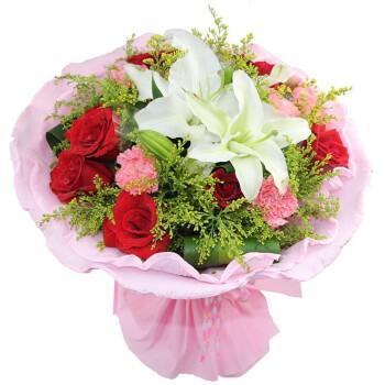 雅鲜花 红玫瑰花束 白百合花束 9朵红玫瑰花2枝多头白百合圆形包装