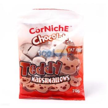 菲律宾进口 可尼斯 泰迪 + 巧克力泰迪 + 水果酱心 棉花糖    70gX6袋