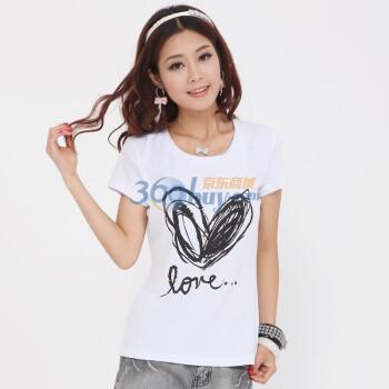 鎏恒色夏装女款手绘甜蜜元素修身t恤6112-1223107