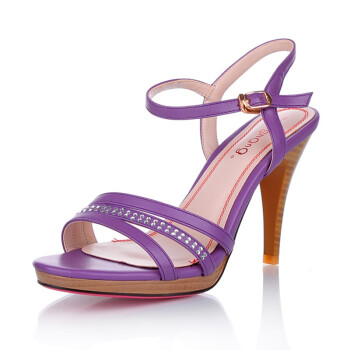 质优雅水钻镶饰防水台细高跟凉鞋LC1110372