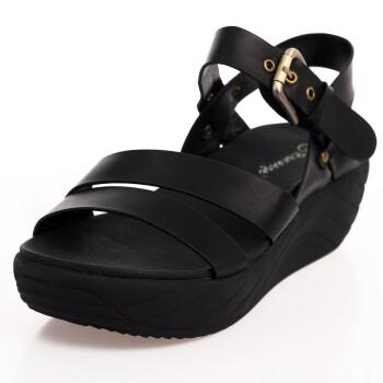 黑色平底凉鞋图片