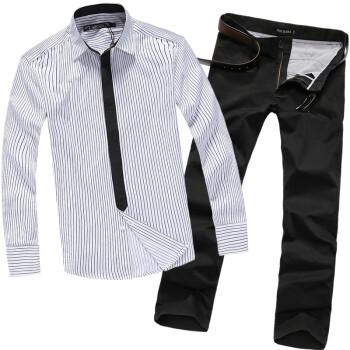 no1dara 纯棉衬衫+休闲裤+翻领毛呢大衣+短袖T恤