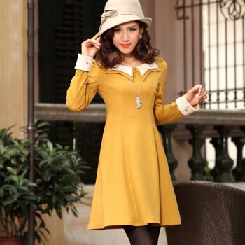 台湾VS.tw2012秋冬装新品明星款韩版OL通勤针织连衣裙子S3460 黄