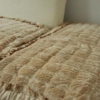 高毛绒 方块纹花边沙发垫 米色 70 120cm