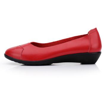 舒适妈妈鞋工作鞋真皮坡跟单鞋圆头中老年皮鞋
