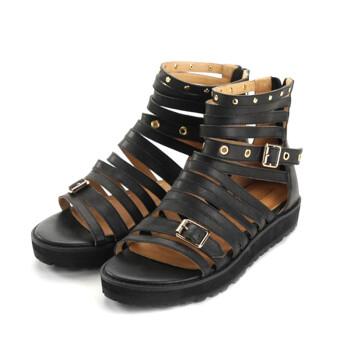 热风offcos中跟女士鞋子铆钉潮流凉鞋73f2514