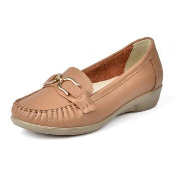 浅口坡跟女式皮鞋妈妈鞋