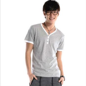 艾梵之家夏季韩版男式v领纯棉t恤