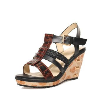 时尚编织坡跟凉鞋 真皮罗马凉鞋