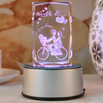 精信DIY个性定制3D水晶内雕转音乐盒情人节礼物送女友礼品生日守护一生