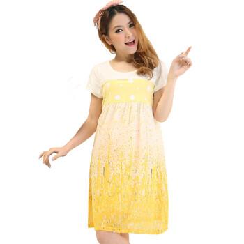 2013新款孕妇夏装 时尚韩版孕妇装夏装连衣裙 夏季孕妇裙子 两色 黄色图片