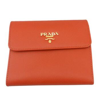 prada/普拉达 橙红色真皮女款钱包