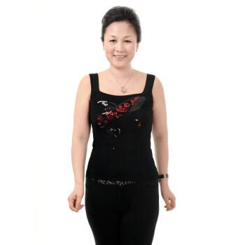 2013新款中老年妈妈女装亮片图按吊带背心