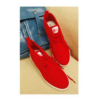 高帮系带男士帆布鞋 男式糖果色舒适帆布运动球鞋