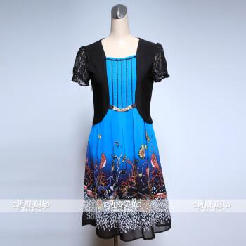 韩版连衣裙加肥加大中年婚礼连衣裙中老年女装假两件裙装宽松套裙