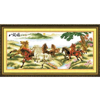 马到成功十字绣八马骏图精准印花八匹马客厅大幅挂画八俊图三012