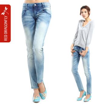 分牛仔裤 女 直筒裤新款九分女牛仔裤夏水洗磨白蓝色低腰 M