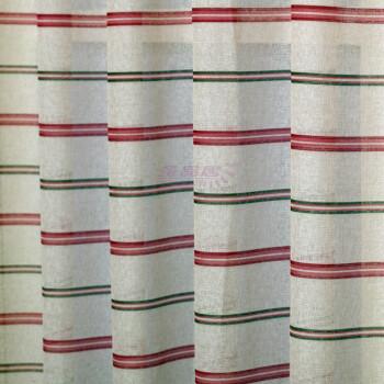 品现代风格印花窗帘窗纱 竖条纹棉麻窗帘面料AB001 1 窗纱打褶皱款