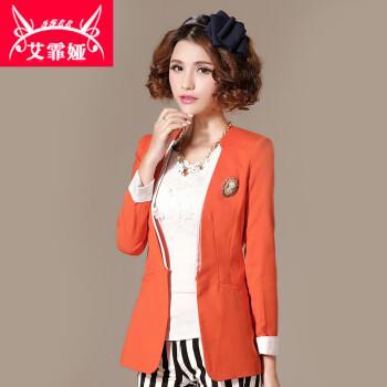 修身V领纯色一粒扣女小西装 西服外套 橙色 S图片