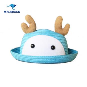 袋鼠岛屿韩国可爱超萌卡通动物小鹿熊猫兔宝宝遮阳草帽子小孩女儿童帽图片