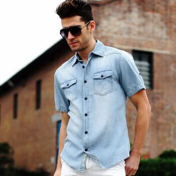 男士短袖牛仔衬衫男水洗磨白衬衣休闲