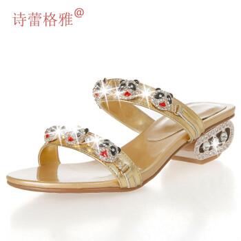 跟凉鞋卡通熊猫水钻凉拖鞋