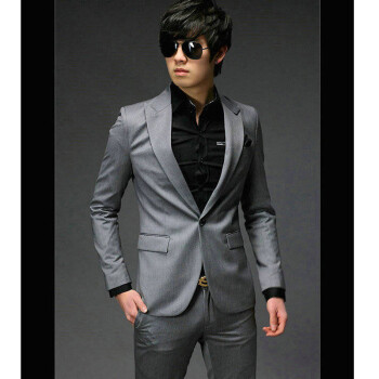 丹杰仕 2014新款男士西服套装礼服男士韩版修身小西装男式休闲三件图片