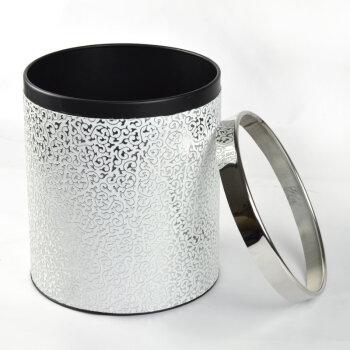 皮革垃圾桶 创意收纳桶储物桶 家居礼品 白底银雕花纹