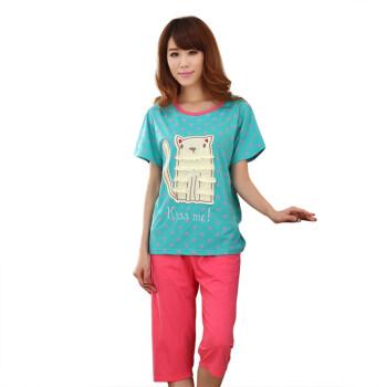 奥唯嘉 Ovega  纯棉女士睡衣套装 短袖卡通睡衣 OWSY31003