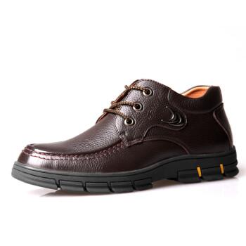 男士棉鞋韩版皮毛一体高帮真皮休闲男鞋保暖皮鞋男靴