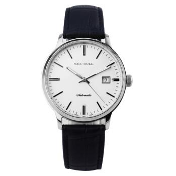海鸥(SeaGull)手表 商务休闲系列自动机械情侣表男表白盘皮带D101