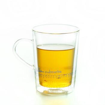 左米 玻璃杯 玻璃水杯 创意杯子 手绘双层玻璃杯 330ml 涂鸦 潜水艇