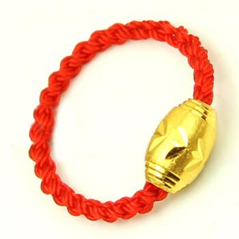 男女款999千足金路路通转运珠红绳戒指 年终热卖 金珠0.