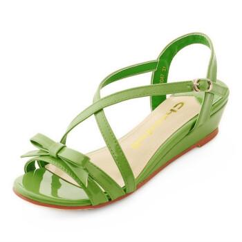 【】坡跟中跟凉鞋漆皮糖果色甜美韩版凉鞋女交叉罗马