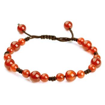 价格:48元; 京品年货 凝萃坊 天然红玛瑙手工编织茶色绳子手链; 凝萃