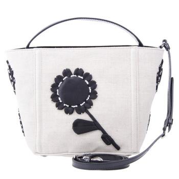prada 普拉达 女款象牙白配黑色花朵帆布手提包