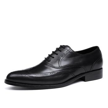 精英保罗男式经典花雕皮鞋男士商务休闲鞋尖头皮鞋男