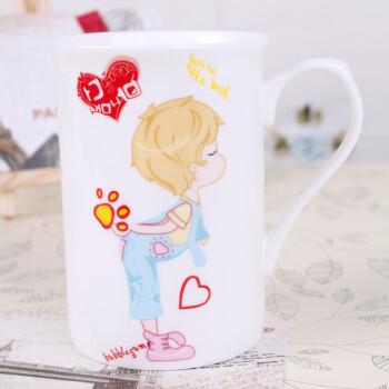中衍云尚 半心把翻口杯-single love骨瓷杯水杯马克杯创意手绘咖啡杯图片