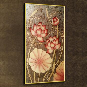 雅创 纯手绘油画客厅装饰画金箔东南亚风格泰式画 金箔荷花 第三幅 50