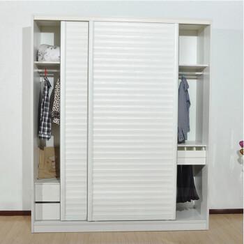 创意百叶门推拉门衣橱衣柜 宜家衣柜挡灰尘 如图浮雕白色 160 60