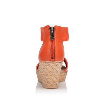 舒适木纹雅致坡跟时尚气质女凉鞋wnk38841/42