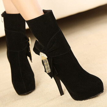 2013最新款中筒靴子细跟超高跟鞋 黑色 35