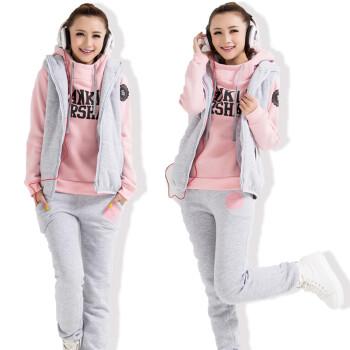 套装 保暖运动卫衣马甲裤子三件套 加大码女装 包邮 粉色 S