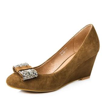 米灰色拼色设计麂皮材质金属跟设计女士高跟裸靴(鞋盒稍有破损鞋子