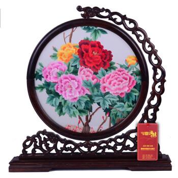 绣成品摆件 纯手工刺绣牡丹 图案满款式多 送朋友客户礼品 创意图案三图片